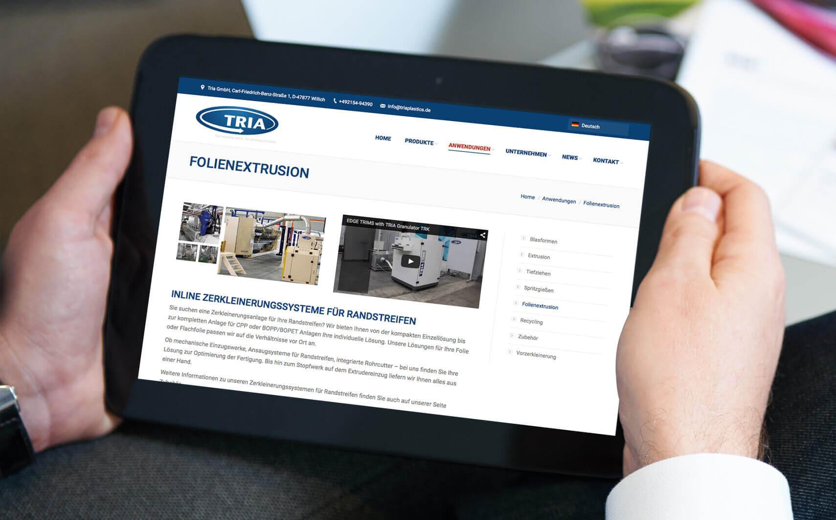 Online Referenz TRIA Website
